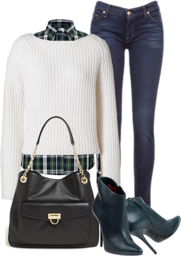 Balmain dark green leather ankle boots black leather bag white cashmere sweater green plaid blouse skinny blue jeans