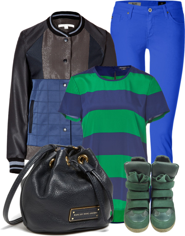 Green suede wedge sneakers blue cigarette jeans green blue striped top black leather bag navy utility jacket