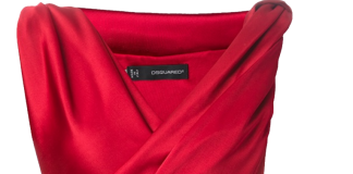 Dsquared2 red satin sleeveless gathered cocktail dress