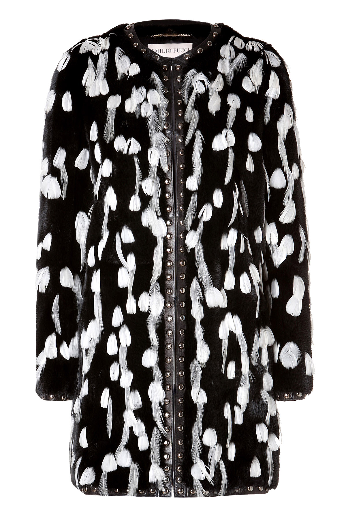 9bc328727be0 Emilio Pucci black mink white feather embellished fur coat - My ...
