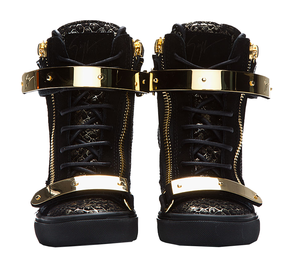 How to wear your GIUSEPPE ZANOTTI Lorenz double gold strap snakeskin Wedge Sneakers