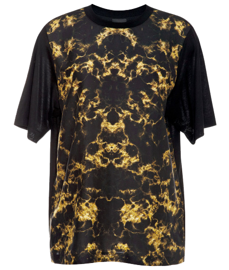 Josh Goot black gold printed crew neck short sleeved tee