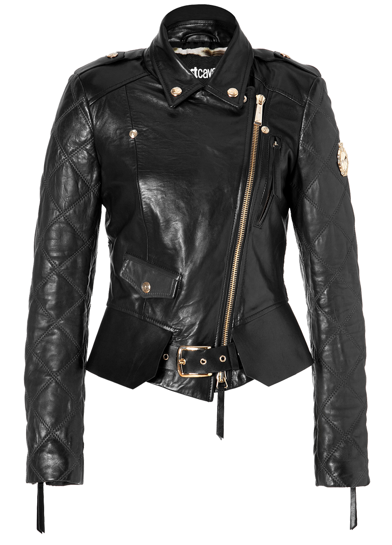 Just Cavalli black Quilted Leather Biker Jacket