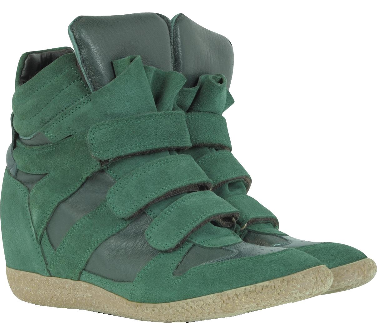 Lemare Dark Green Suede Wedge Sneaker