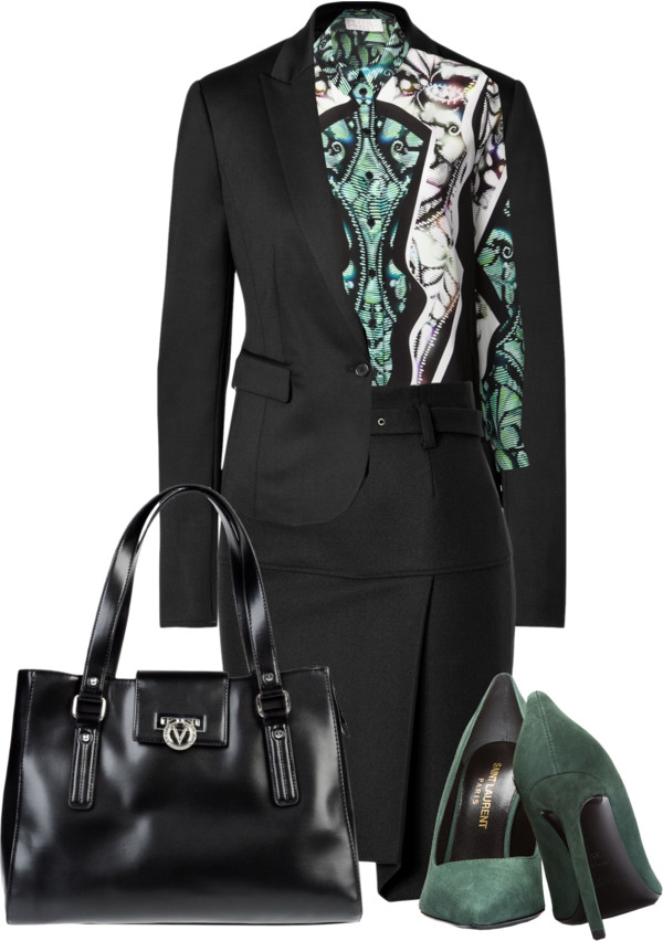 Saint Laurent green suede pointy toe pumps green print blouse black skirt blazer leather bag