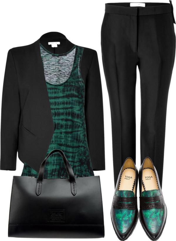 Green Marble Croc-embossed loafers black pants green top black blazer black leather bag