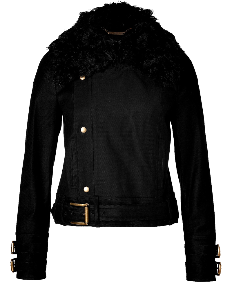 Rachel Zoe Dalia black motorcycle style gold accent jacket