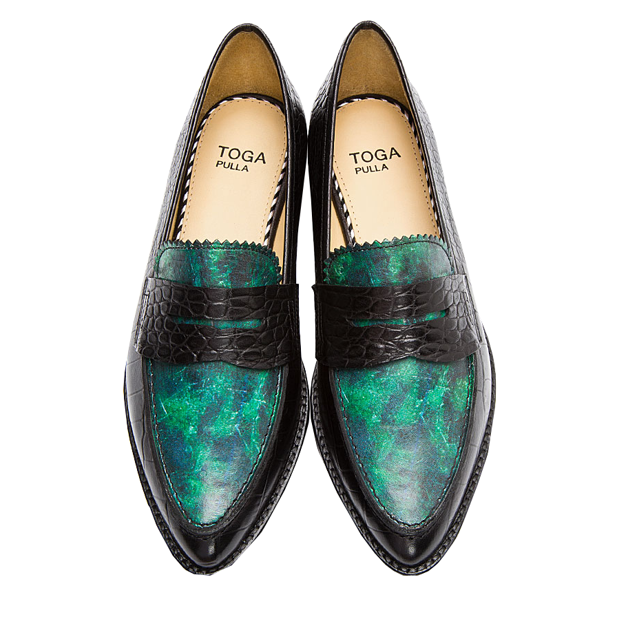 Toga Pulla Green Marble Croc-embossed loafers green shoes