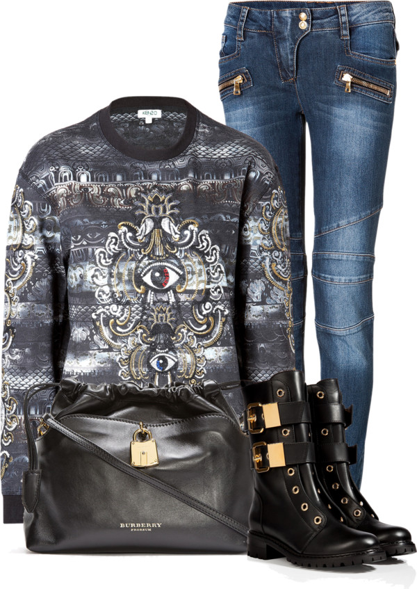 Black and gray Kenzo embroidered evil eye sweatshirt Balmain blue low rise biker jeans Giuseppe Zanotti black leather combat boots Burberry drawstring bag