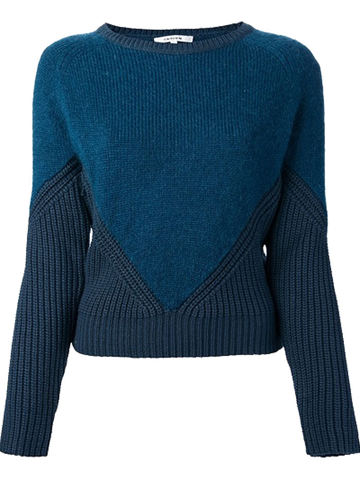 Carven teal tonal ribbed sweater