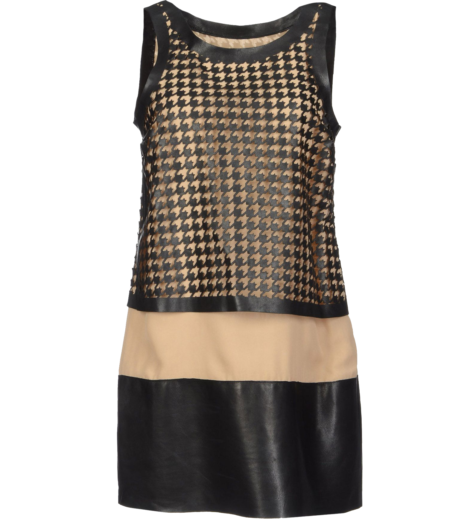 Dsquared2 black tan round collar sleeveless crepe houndstooth mini dress