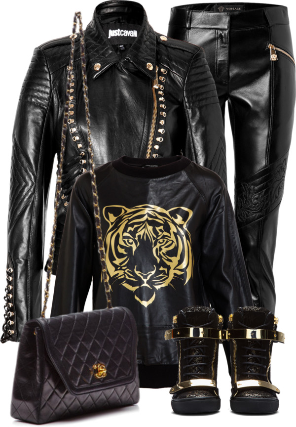 Giuseppe Zanotti Black croc-embossed Lorenz Wedge Sneakers Chanel quilted bag Just Cavalli leather Versace leather pants Love Leather tiger black gold sweatshirt