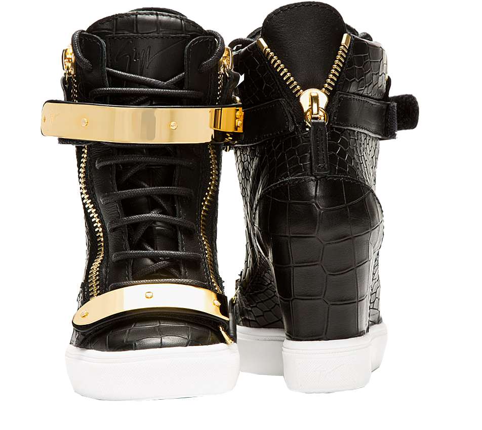Giuseppe Zanotti Black croc-embossed Lorenz Wedge Sneakers