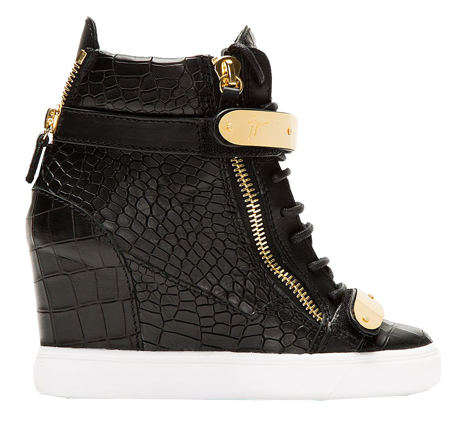 Giuseppe Zanotti black crocodile skin leather gold straps wedge sneakers