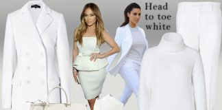 Head to toe white - wearing all white - Jil Sander white pants Anthony Vaccarello white turtleneck sweater
