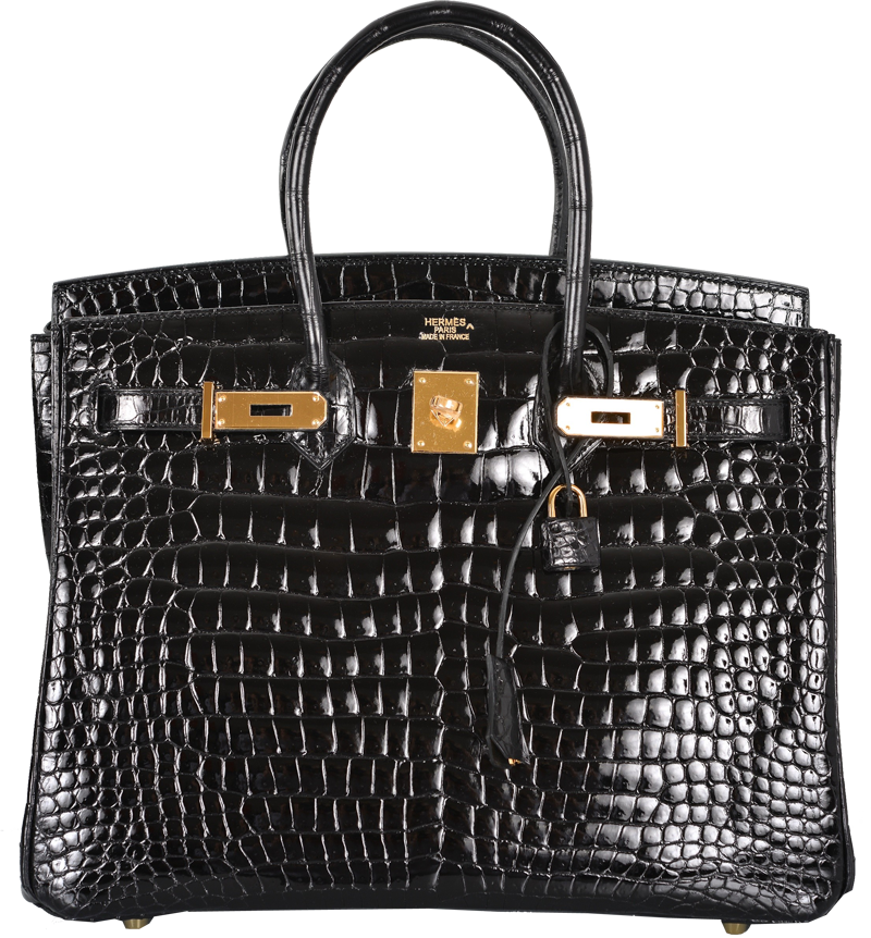 Hermes Black Porosus Crocodile 35cm Birkin Bag Gold Hardware