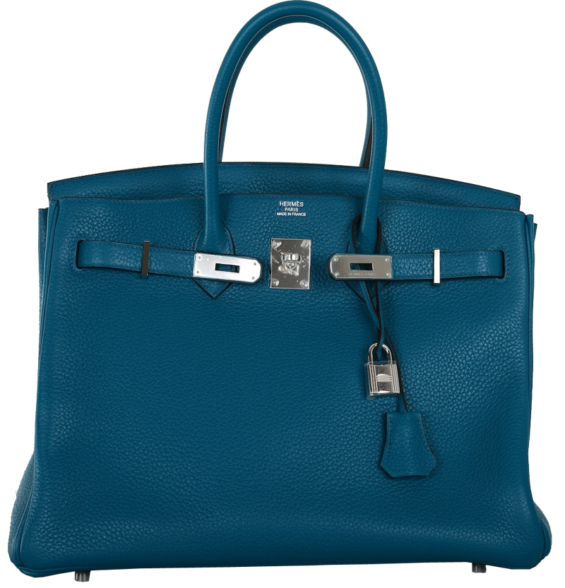 Hermes Izmir Blue 35cm Birkin Bag with Palladium Hardware
