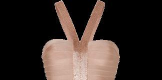 Herve Leger Portia bandage dress gold champagne