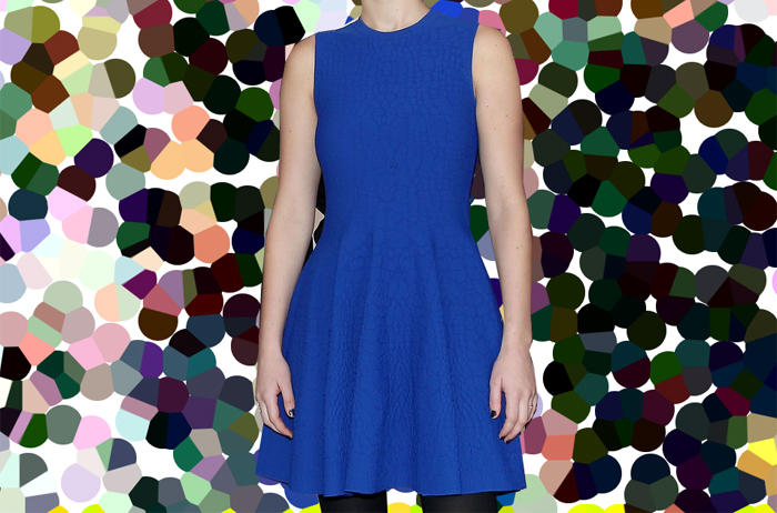 Jennifer Lawrence blue Alexander McQueen dress black tights black pumps