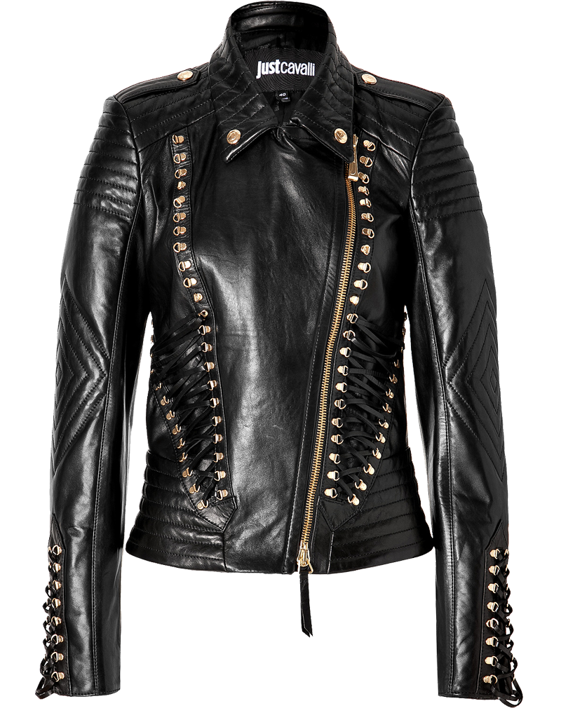 Just Cavalli gold studded black Leather Jacket