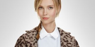 Model wearing Thakoon Addition Leopard Printed Leather Collared Coat