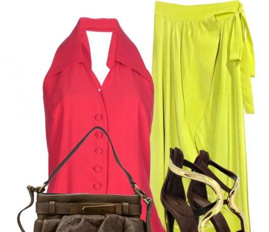 Moschino red top Cynthia Rowley silk maxi skirt Giuseppe Zanotti stiletto heel shoes Brunello Cucinelli mini shoulder bag