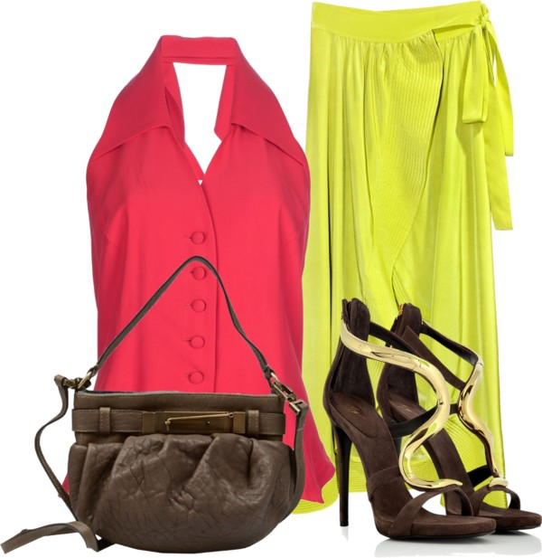 Moschino red top Cynthia Rowley silk maxi skirt Giuseppe Zanotti stiletto heel shoes Brunello Cucinelli mini shoulder bag