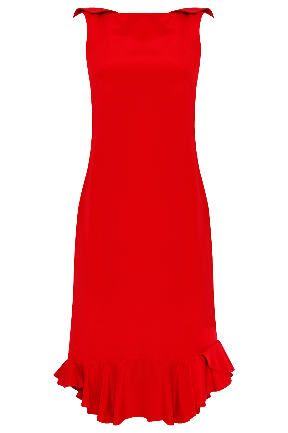 NOTTE BY MARCHESA red Crepe Cocktail Dress With Ruffle
