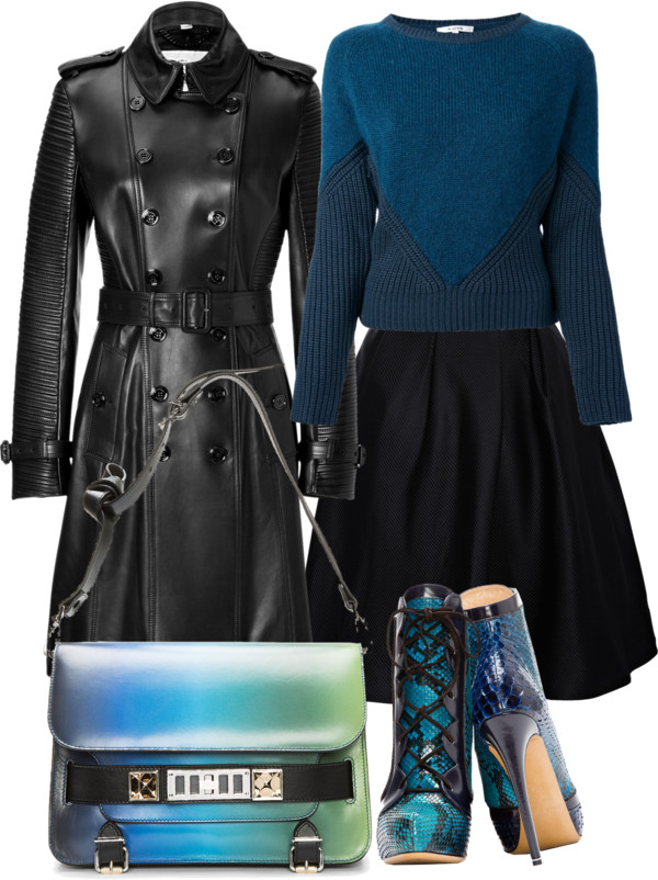 Nicholas Kirkwood teal snakeskin ankle boots carven teal sweater Thakoon Addition black flared skirt burberry black leather trench coat Proenza Schouler blue ombre bag