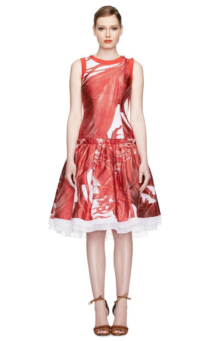 Zoe Saldana Prabal Gurung red white black navy print sweater dress ...
