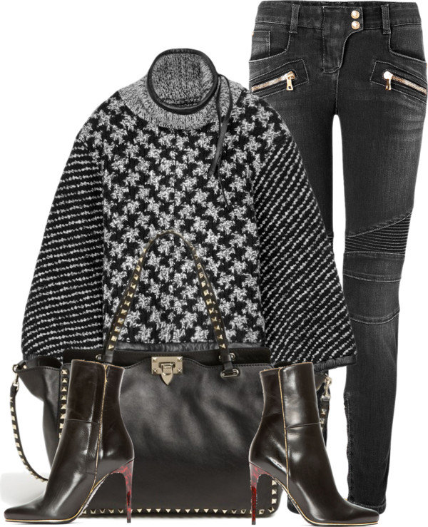 Rag Bone Ava sweater Balmain black biker jeans leather ankle boots Valentino studded tote bag