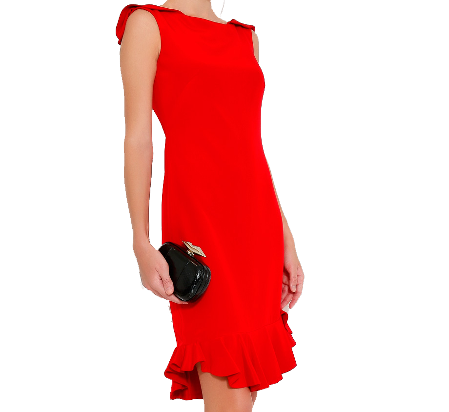 Red NOTTE BY MARCHESACrepe Cocktail Dress With Ruffle