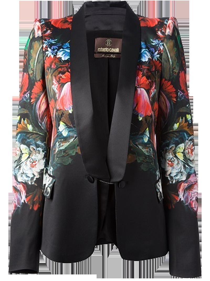 Roberto Cavalli Black silk structured floral blazer
