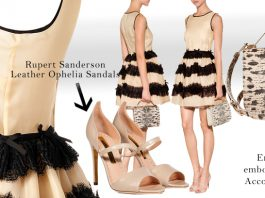 Valentino R.E.D nude silk dress with black lace trim