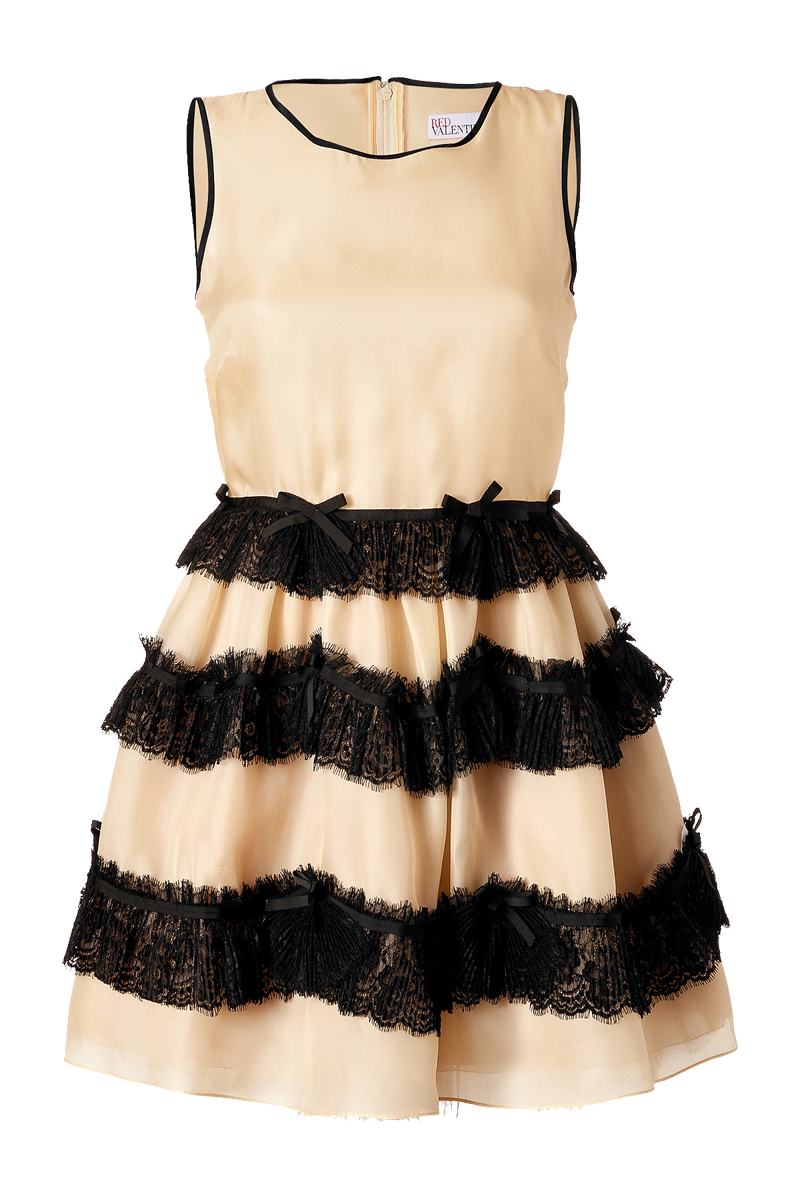 Valentino R-E-D nude silk dress with black lace trim