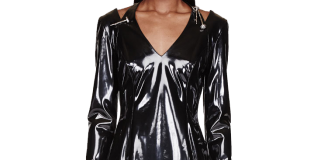 Versace Long sleeve black patent cut-out pinned dress
