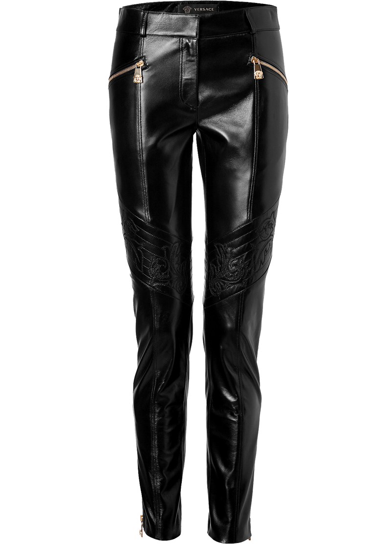 Versace black patent leather pants