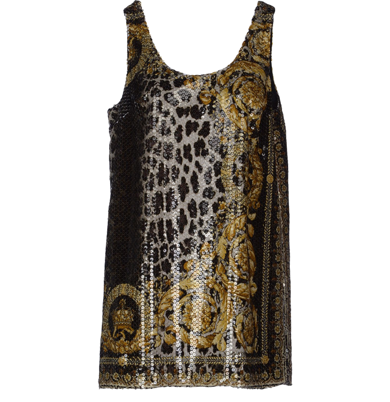 Versace sleeveless sequins multicolor pattern tube dres