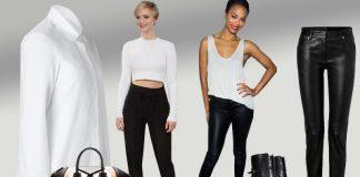 White top black pants Jil Sander blouse Maison Martin Margiela leather pants