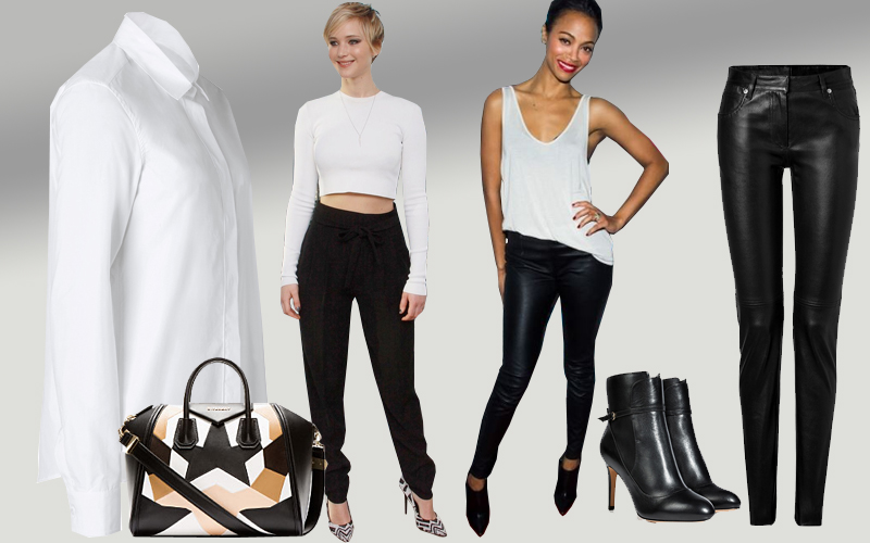 White top black pants Jil Sander blouse Maison Martin Margiela leather pants