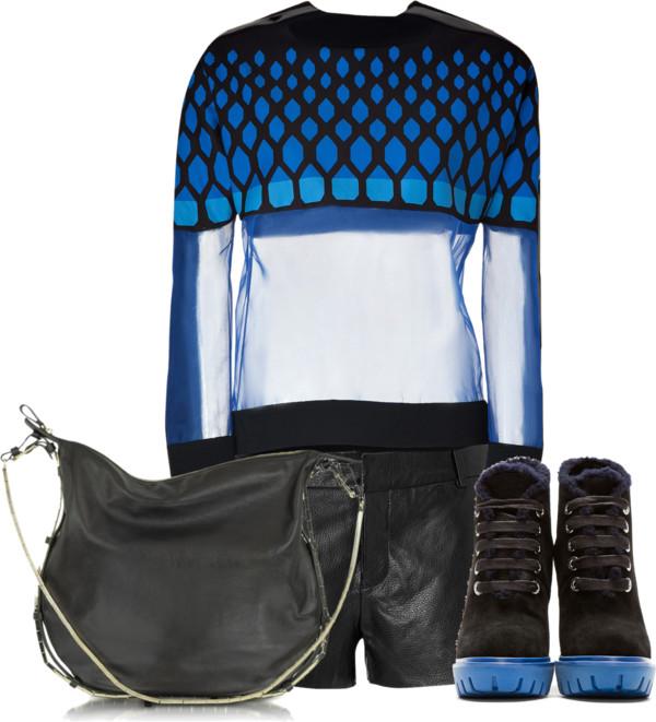 black lamb leather shorts David Koma Blue Multi Top Kenzo Black suede Prisci Carolina boots Valentino Garavani Nappa Leather and Metal Hobo Bag