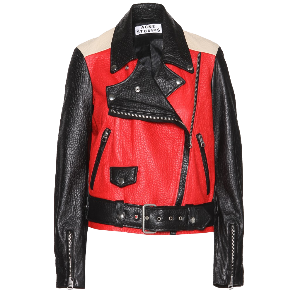 Acne Studios Merci Contrast red black and beige leather jacket