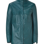 Balmain teal green Petrol Leather Shirt