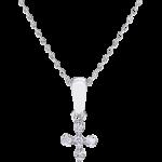 Cada 18kt White gold Mini Mini Milano Cross necklace with white diamonds