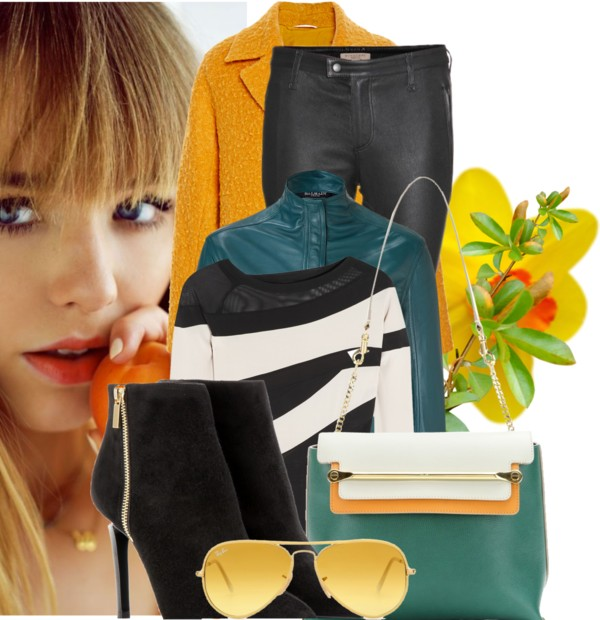 Chloe Clare green leather bag Balmain petrol leather shirt Donna Karan black cream-white blouse Burberry Brit black leather trousers Lanvin black suede ankle boots Ray Ban sunglasses