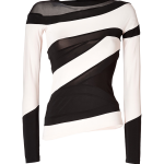 Donna Karan black cream-white stretch-jersey sheer tulle asymmetric long sleeve blouse