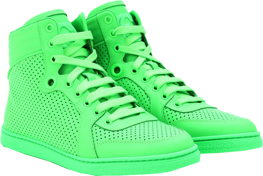 Gucci neon green leather high-top sneakers