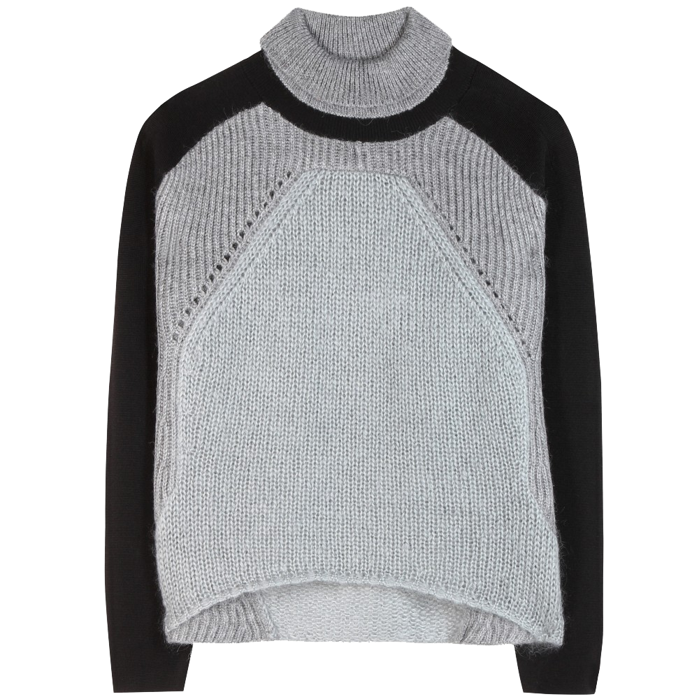 Helmut Lang gray black panelled knitted turtleneck sweater