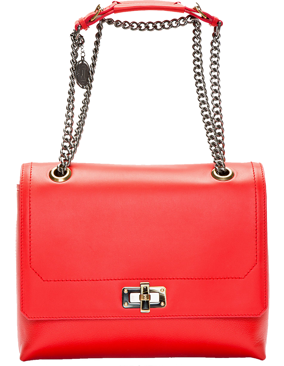Lanvin Poppy Red Leather Happy Edgy Medium Shoulder Bag