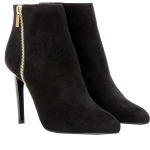 Lanvin black suede ankle boots gold side zipper